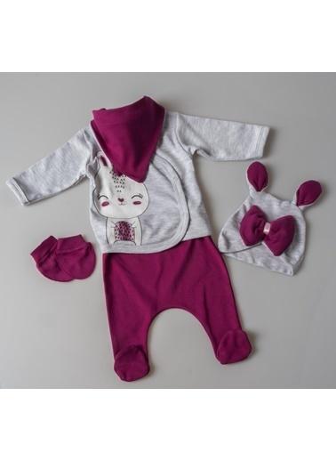 POKY Zıbın Takımı Kız Bebek Tavşan Fiyonklu Beşli Set Renkli
